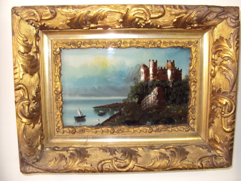 Castle, Boats Water Reverse Painting on the glass