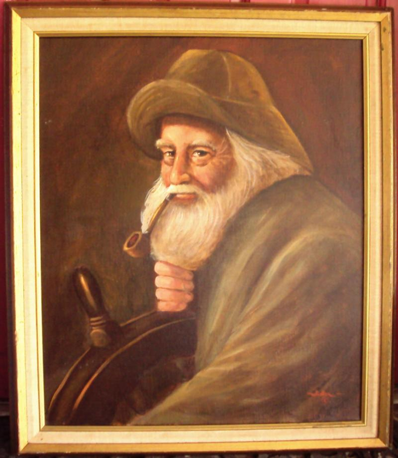 """""""Gloucester Man at the Helm"""" by Whalen oil on canvas"""
