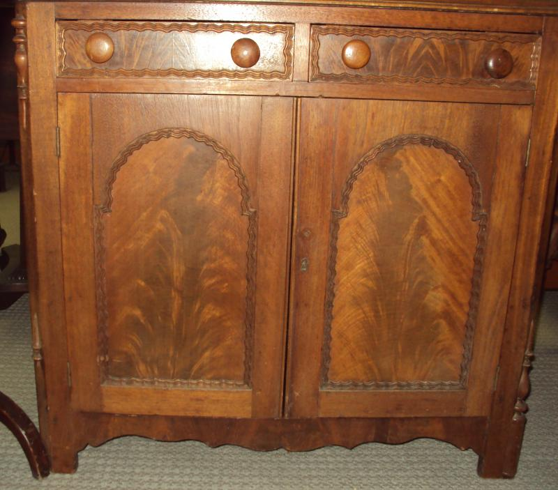 Cabnet, book matched mahogany antique